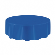 Royal Blue Table Cloth - Plastic Round Tablecover 1pc